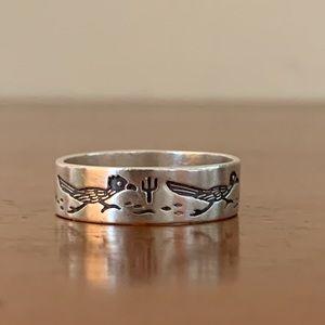Native American Sterling Silver WM Roadrunner Ring